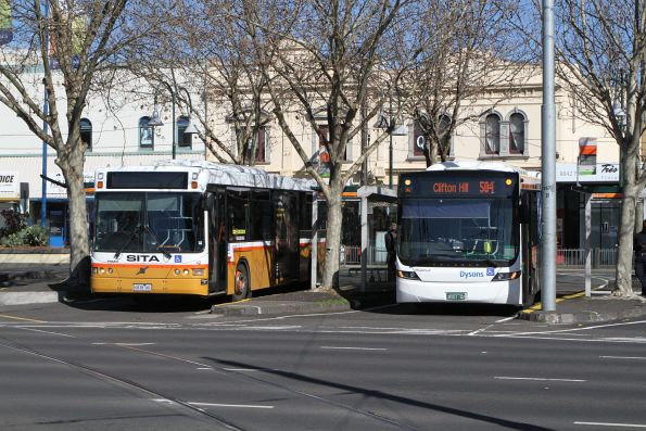 Sita bus #42 6838AO on route 472 with Dysons bus BS01QZ on route 504 at Moonee Ponds Junction