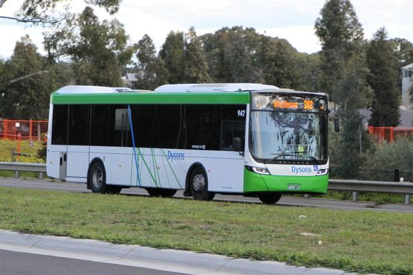 Dysons bus #947 BS02JT heads north on route 382 along Plenty Road in South Morang