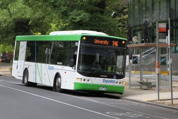 Dysons bus #702 8025AO on route 546 along Royal Parade at Melbourne University