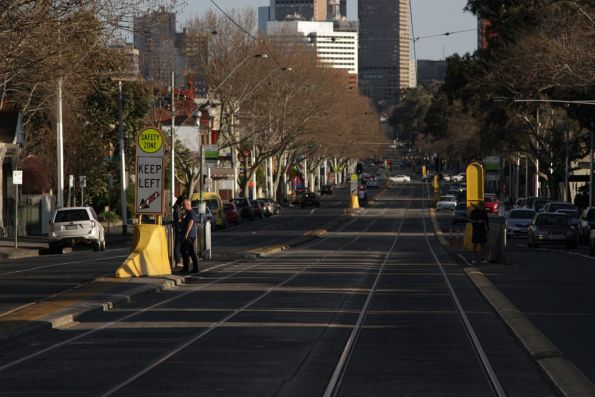 Recently extended tram safety zones on Nicholson Street in Fitzroy North