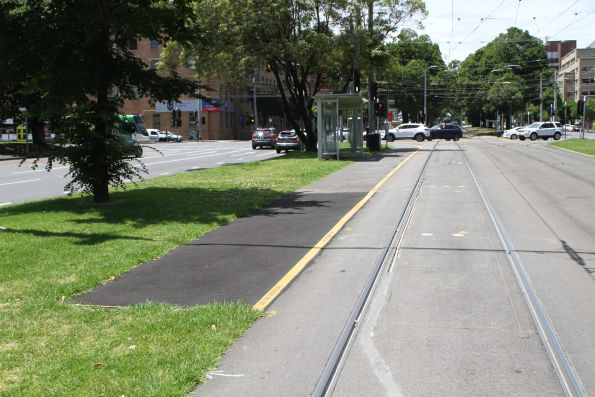 Eastbound tram stop at Victoria Parade and Nicholson Street extended for E class trams on route 30