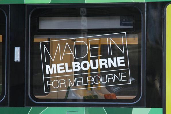 'Made in Melbourne for Melbourne' decal on the window of E.6001