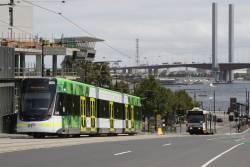 E.6018 on a shakedown run heads west along La Trobe Street