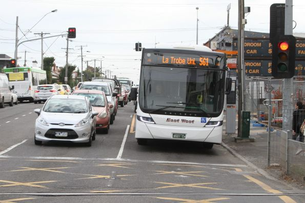 East West bus BS01CH on route 561 at Coburg station