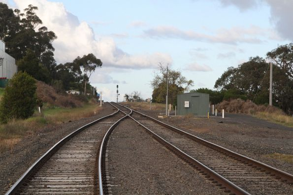 Transition to single track at the up end of Bunyip station