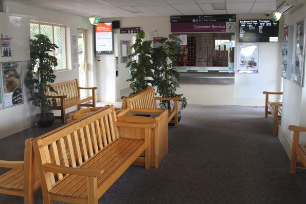 Inside the waiting room at Drouin station