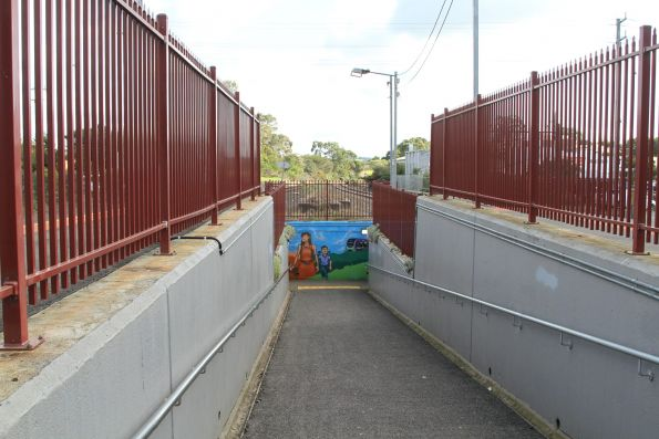 Pedestrian subway linking the island platform at Drouin station