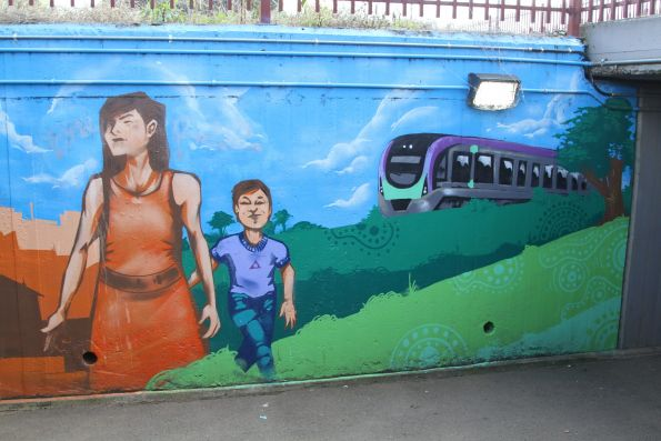 VLocity train features on a mural at Drouin station