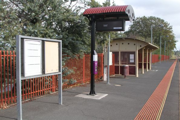 Passenger shelter and PIDS on the platform at Garfield station