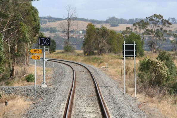 130 speed board on the up side of Morwell Loop facing up trains