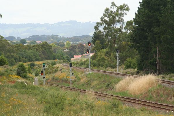 Signals for down trains approaching Warragul on the down