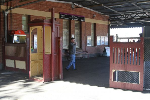 Disused ticket checking gates at the platform entry at Warragul