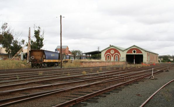 Echuca station and stored wagons