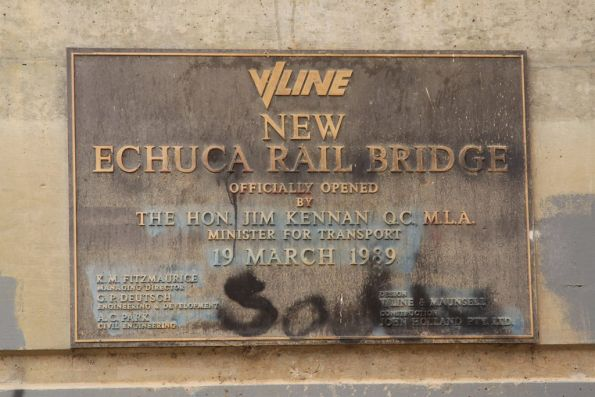 A second, much larger, plaque marking the opening of the new Echuca rail bridge