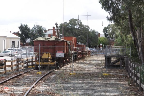 Rolling stock stored on the Echuca wharf line, moved out of the port due to construction works
