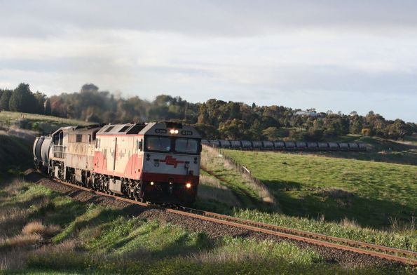 SCT liveried G514, GM36 and VL351 climb upgrade at Moorabool headed west with an El Zorro grain train