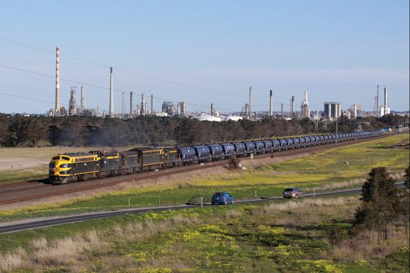B74 leads T357, T320, S303 and T341 out of Geelong at Corio
