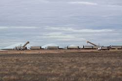 Trucks queued up at Birchip GrainFlow to upload