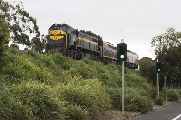 X31, S303 and G521 head light engine from North Geelong C to Geelong Loco