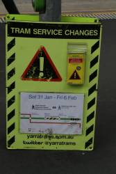 Signs informing passengers of the upcoming Elgin Street tram works