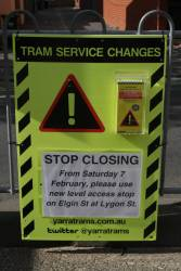 Signage indicating that the Elgin and Swanston Street tram stop is closing