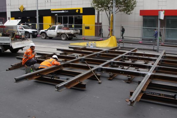 New H crossing being assembled for the corner of La Trobe and Elizabeth Streets
