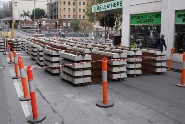 Stockpile of concrete sleepers on Little Lonsdale Street