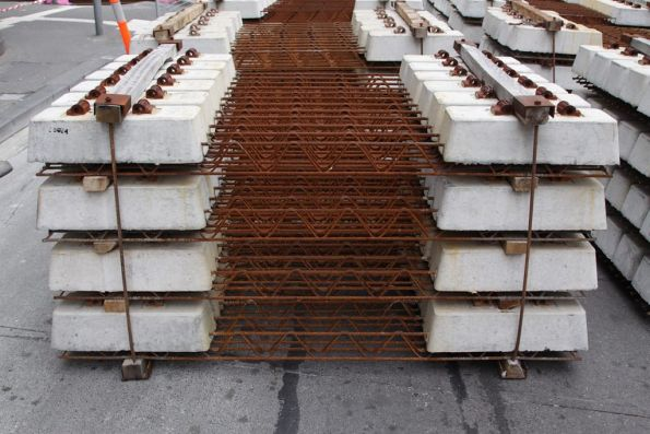 Detail of the concrete sleepers being used in this track relay project