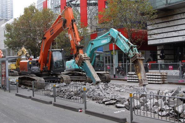 Pair of breakers at work outside Melbourne Central