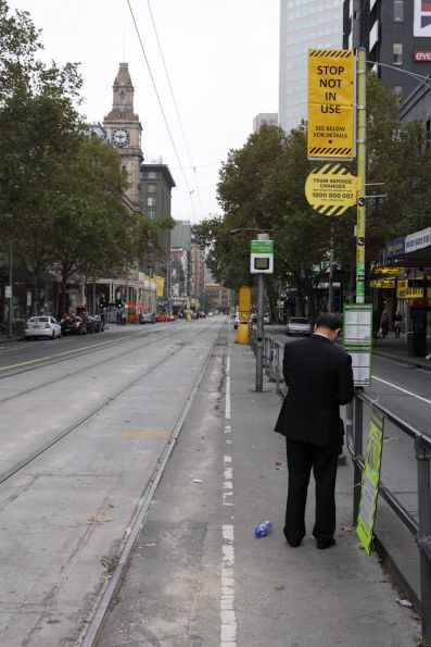 Passenger oblivious to the fact no trams are running on Elizabeth Street