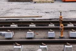 Rail and sleepers jacked up, awaiting packing before the concrete pour