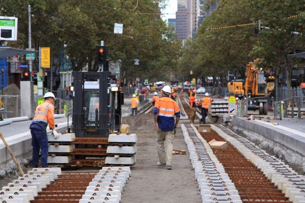Laying new concrete sleepers on Elizabeth Street