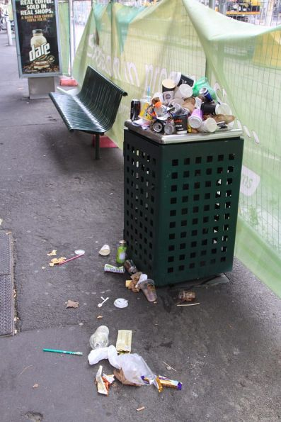 With Elizabeth Street closed, there was no rubbish collection during the weekend