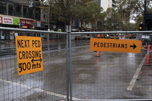 After the shemozzle yesterday, signage directing pedestrians to the nearest crossing has been erected