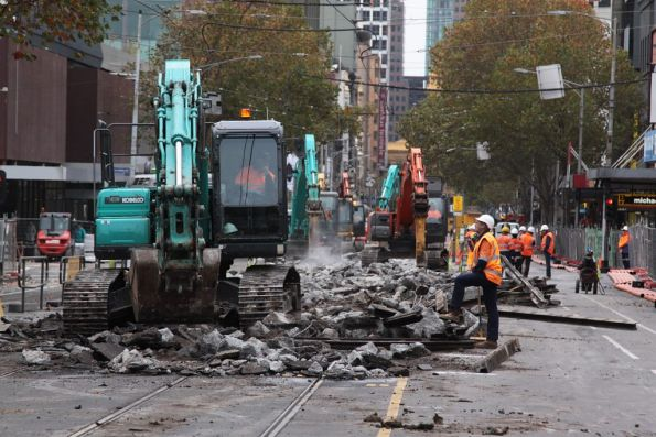 Breaking up the concrete tracks at Elizabeth and Lonsdale Streets