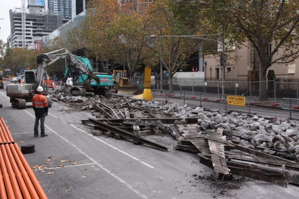 Broken up bits and pieces of the Lonsdale Street crossover on Elizabeth Street