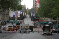 Looking east down Bourke Street to the work site