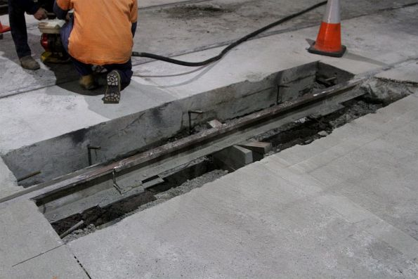 Replacement rail in place on Elizabeth Street near Collins Street