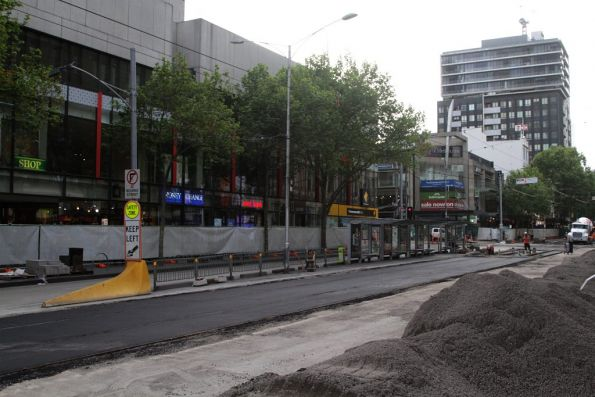 Asphalt laid through the soon to be removed tram stop at Elizabeth and Bourke