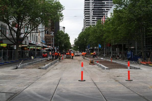 Getting ready to pour concrete for the platform stop on Elizabeth Street at Little Lonsdale