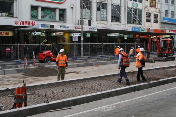 Getting ready to pour concrete for the platform stop on Elizabeth Street at La Trobe