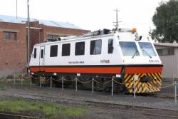 Track Evaluation Vehicle EM100 stabled at Geelong loco depot