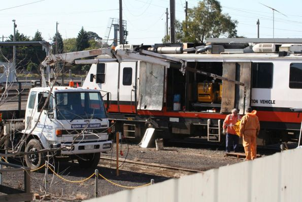 EM100 getting engine works done at Geelong Loco