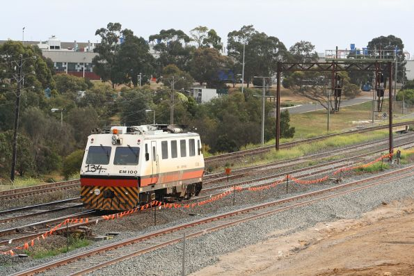 EM100 on the up at North Geelong Junction