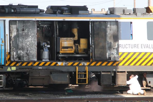 IEV100 on standard gauge and stabled at South Dynon, engine room doors open