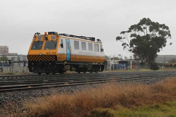 IEV100 heads through McIntyre Loop on standard gauge, returning from an inspection run to Albury