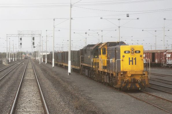 H1 cab-to-cab with X43 await departure from North Geelong Yard with a rake of log flats to brake a transfer