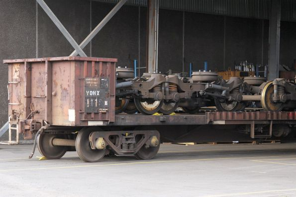 Railcar bogies stored out the back of South Dynon