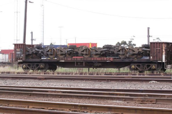 Four railcar bogies stored at South Dynon, while the cars are down at Dandenong
