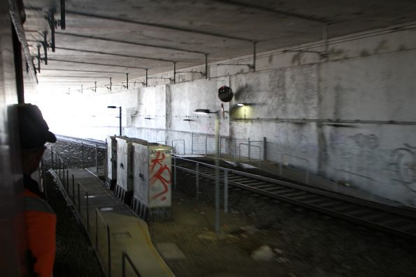 Pedestrian crossing underground at the up end of Epping station